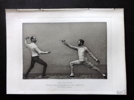 Badminton Library 1889 Fencing Print. The Salute. Position after disengagement